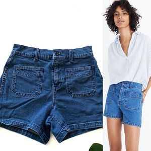 Madewell High Rise Patch Pocket Jean Shorts!